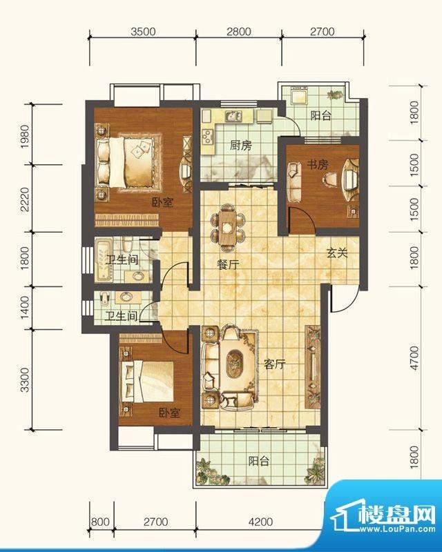 紫御荣庭B1 3室2厅2面积:103.43平米