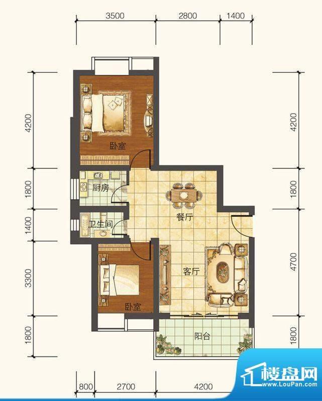 紫御荣庭B1型6层 2室面积:71.79平米
