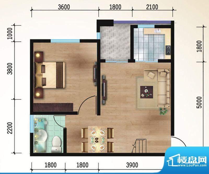 悠山丽景B1两室两厅面积:83.65平米