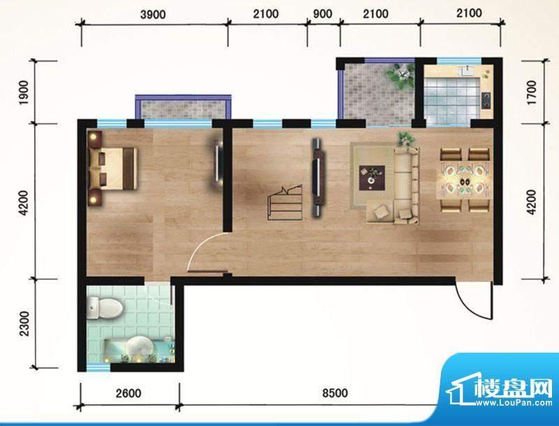 悠山丽景B3两室两厅面积:99.62平米