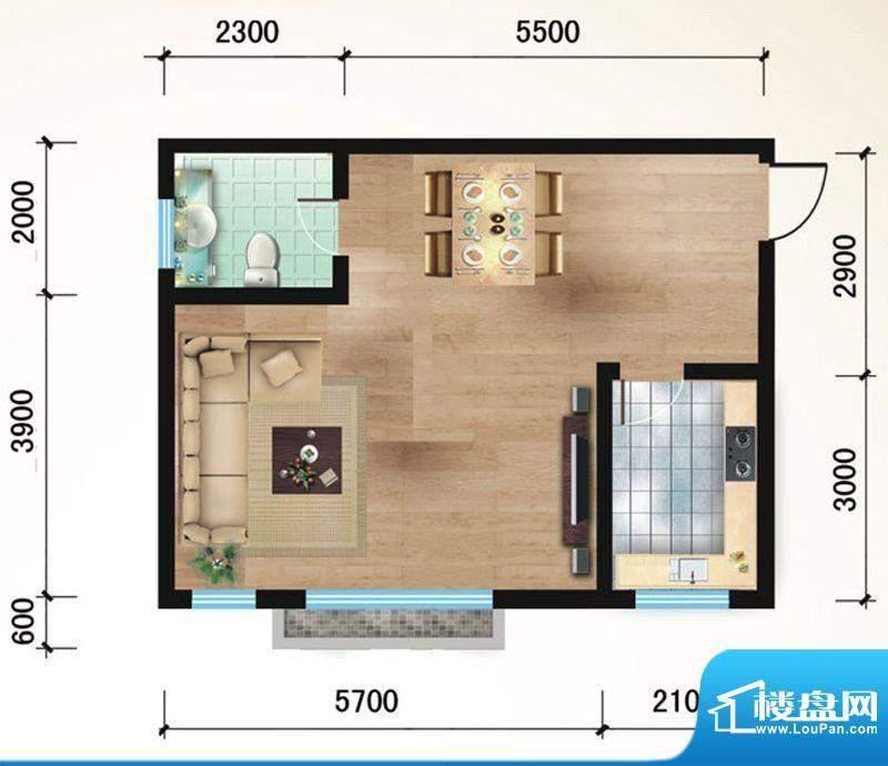 悠山丽景B4两室两厅面积:95.31平米