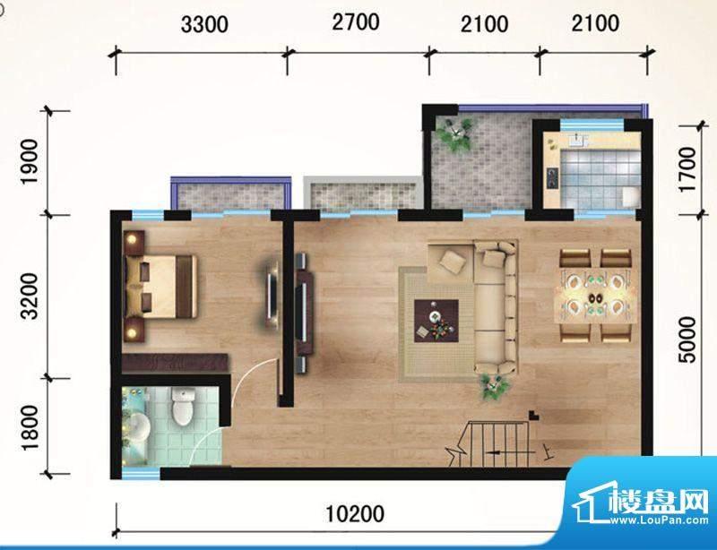 悠山丽景B5两室两厅面积:88.92平米