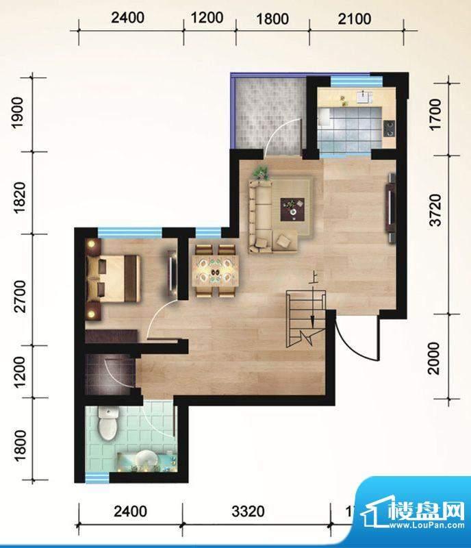 悠山丽景B6两室两厅面积:84.02平米