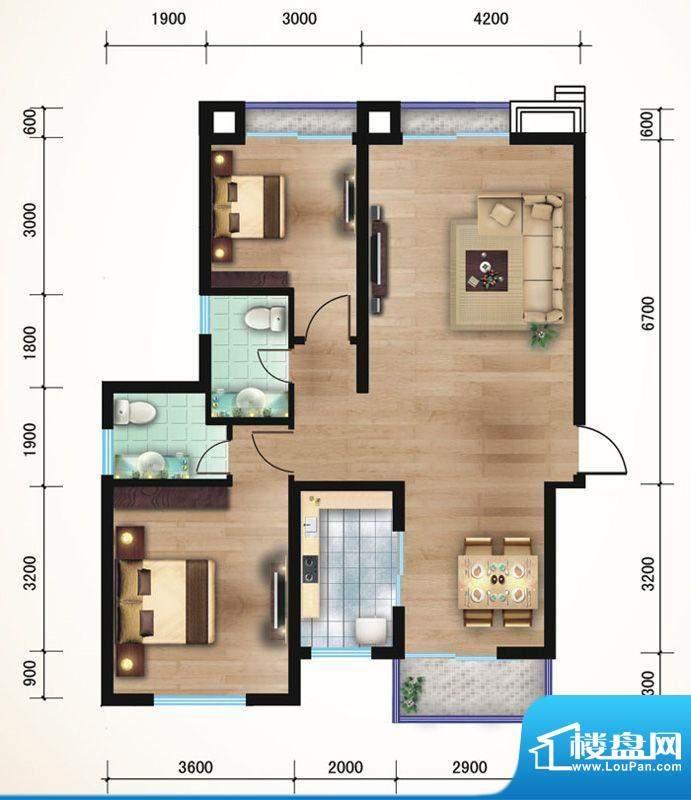 悠山丽景E1两室两厅面积:87.16平米