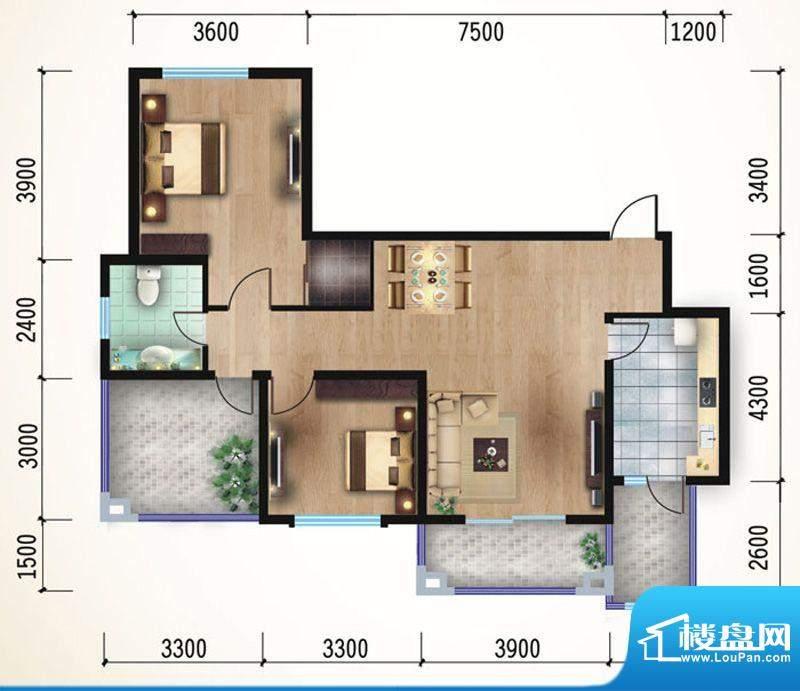 悠山丽景F1两室两厅面积:100.00平米
