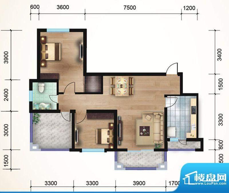 悠山丽景F2两室两厅面积:98.71平米