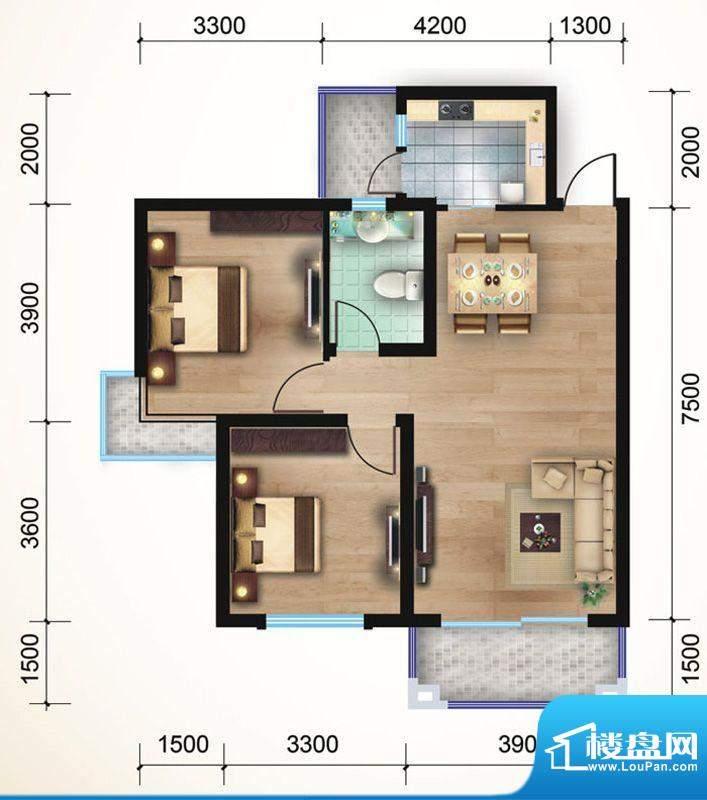 悠山丽景F3两室两厅面积:103.36平米