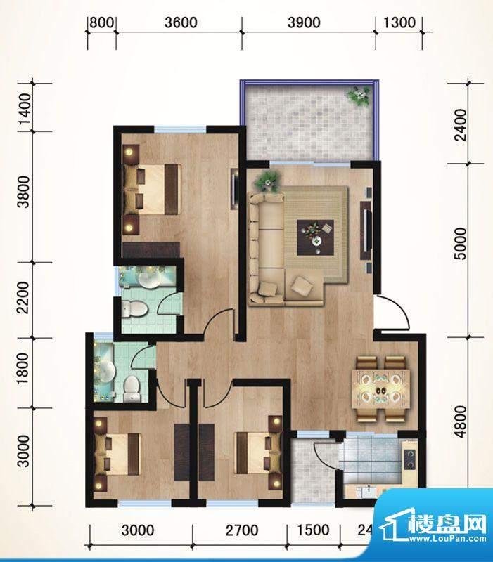 悠山丽景A1三室两厅面积:100.68平米