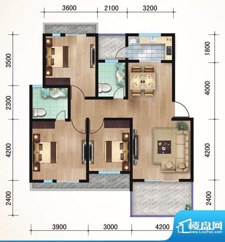 悠山丽景A2三室两厅面积:112.16平米