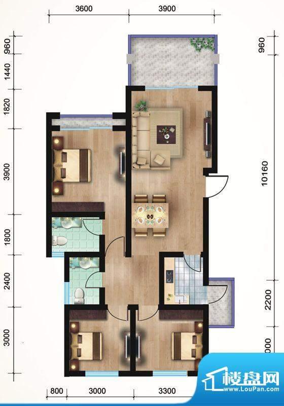 悠山丽景A4三室两厅面积:100.63平米