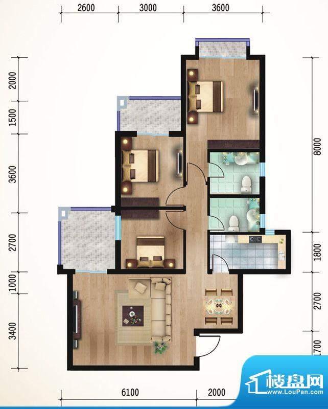 悠山丽景D1三室两厅面积:107.55平米