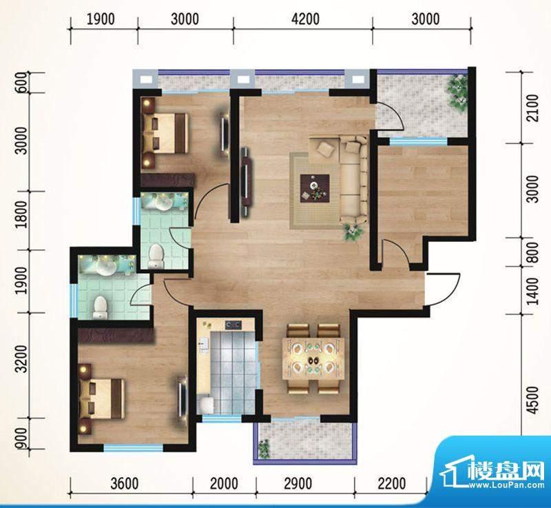 悠山丽景D2三室两厅面积:118.59平米