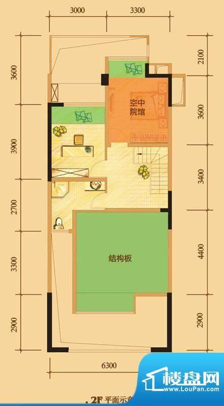 南门一号D1上层 2室面积:113.00平米