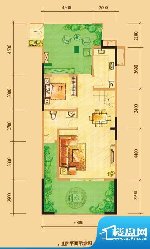 南门一号D1下层 2室面积:113.00平米