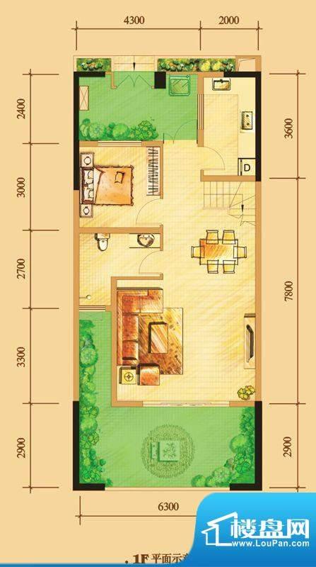 南门一号D2下层 2室面积:113.00平米