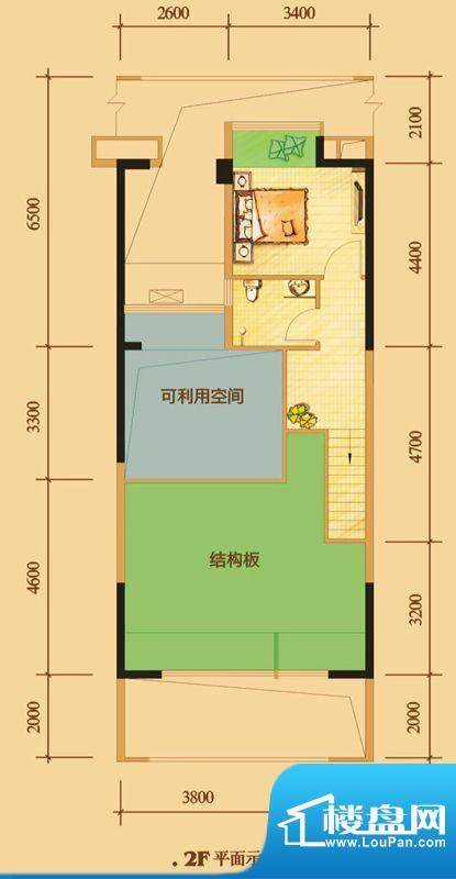 南门一号D5上层 1室面积:94.00平米