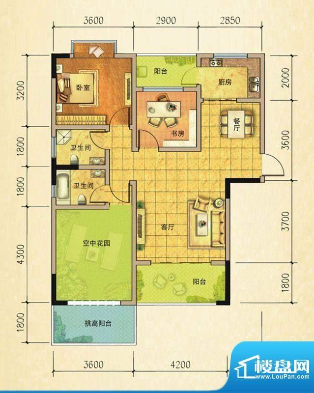 万基蓝域H1奇数层 2面积:98.51平米