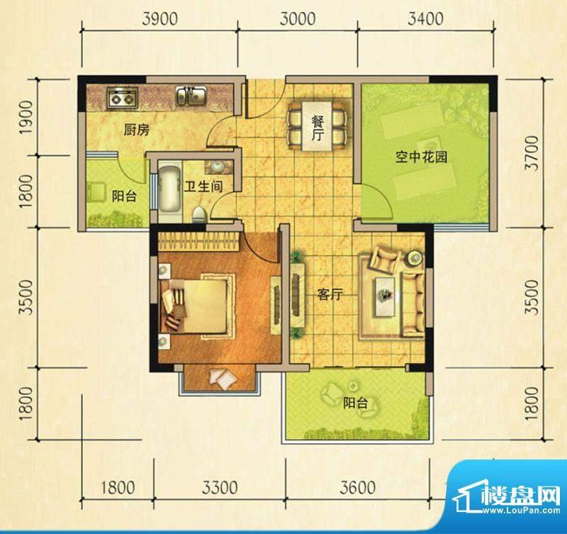 万基蓝域I2偶数层 1面积:69.63平米