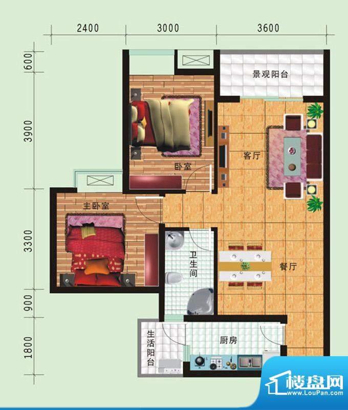 华诺国际D1二室二厅面积:84.18平米