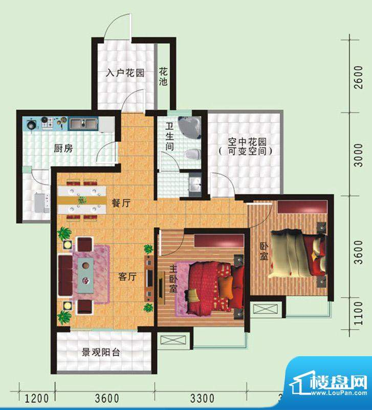 华诺国际D3二室二厅面积:88.25平米