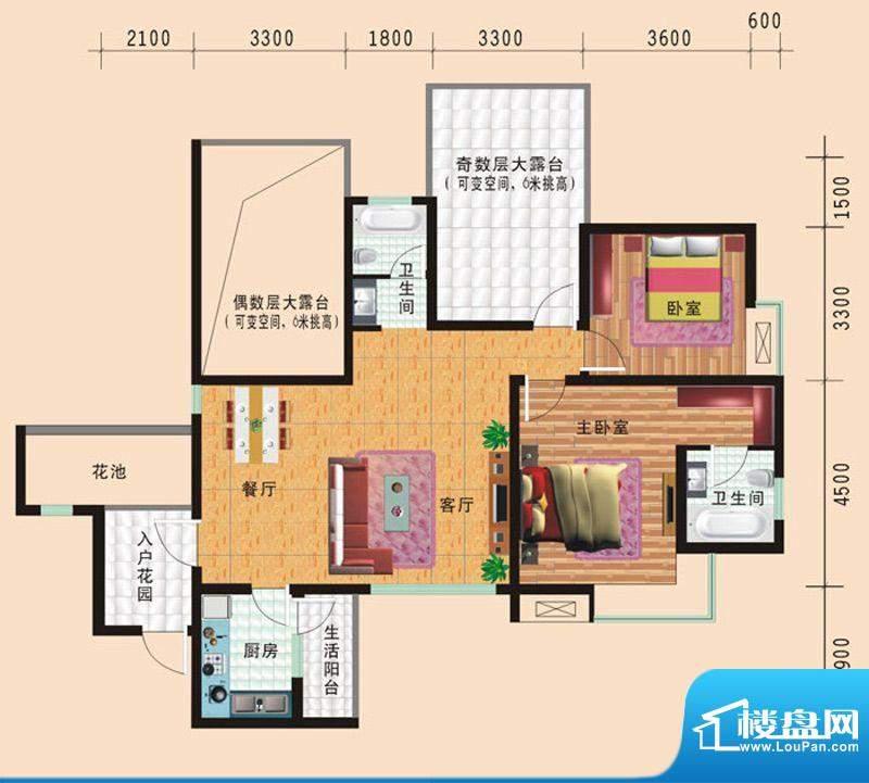 华诺国际F2二室二厅面积:106.24平米