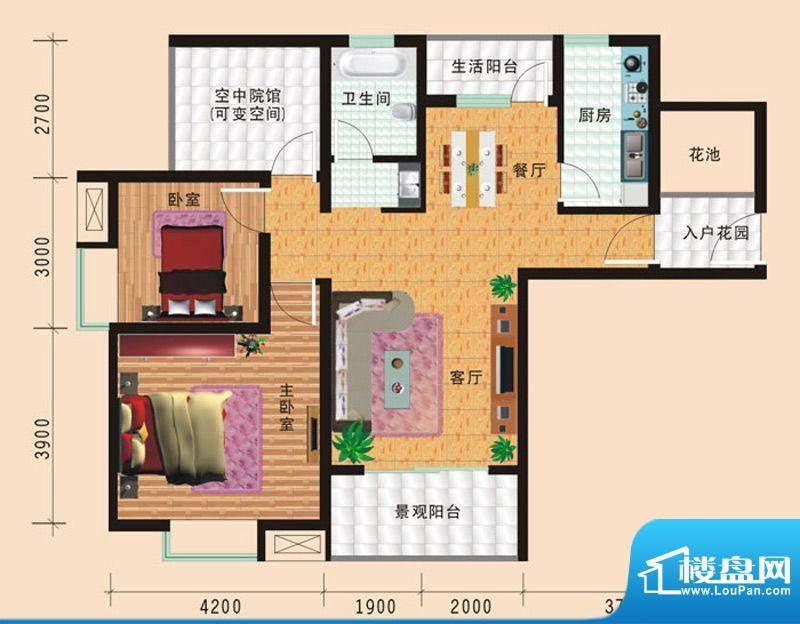 华诺国际F3二室二厅面积:98.06平米