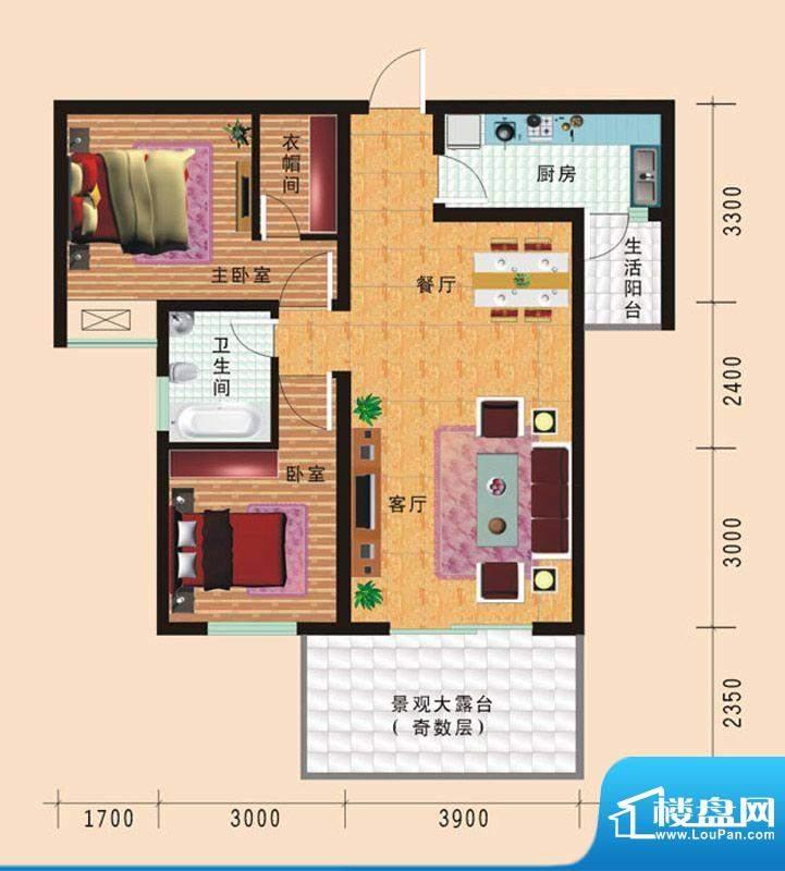 华诺国际F4二室二厅面积:83.25平米