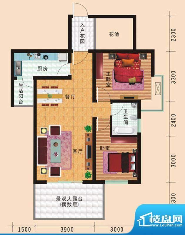 华诺国际F5二室二厅面积:82.11平米