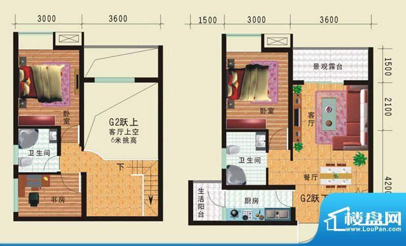 华诺国际G2二室二厅面积:95.36平米