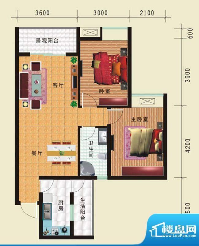 华诺国际G3二室二厅面积:86.50平米
