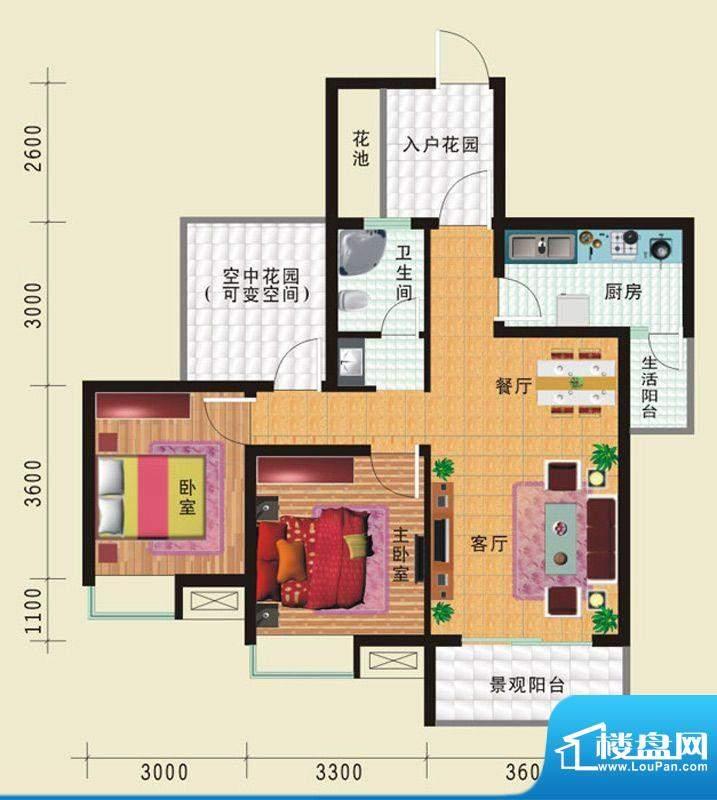 华诺国际G4二室二厅面积:86.69平米