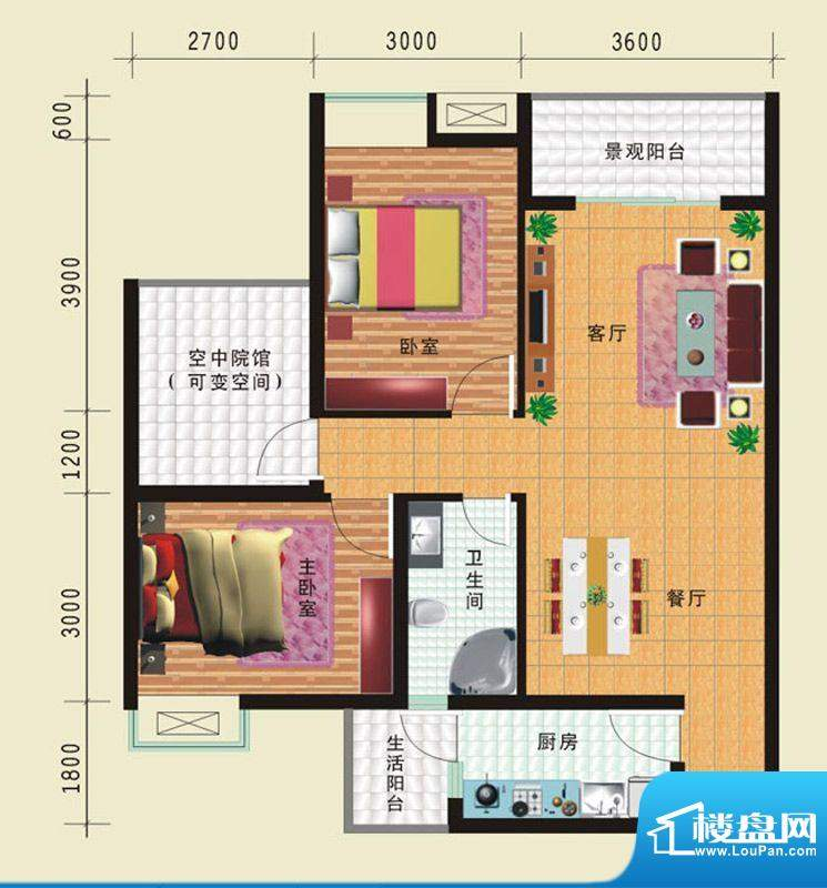 华诺国际G1二室二厅面积:89.03平米
