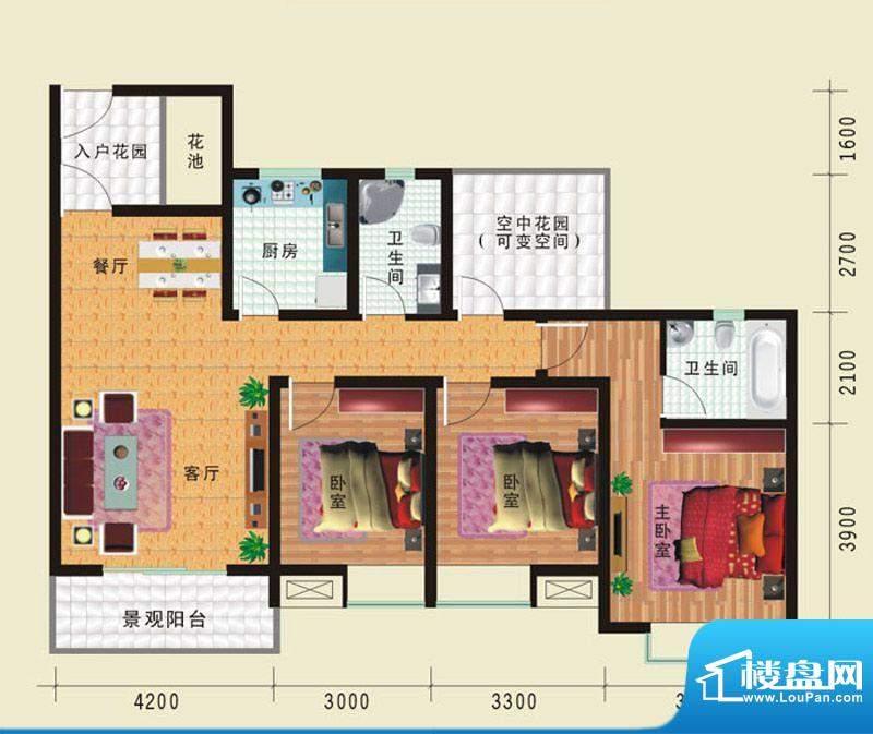 华诺国际G5三室二厅面积:121.39平米