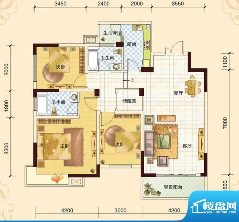 春风玫瑰园J1 3室2厅面积:114.94平米