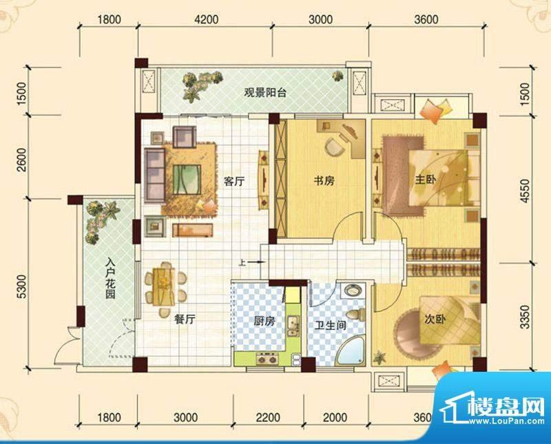 春风玫瑰园J2 3室2厅面积:108.84平米