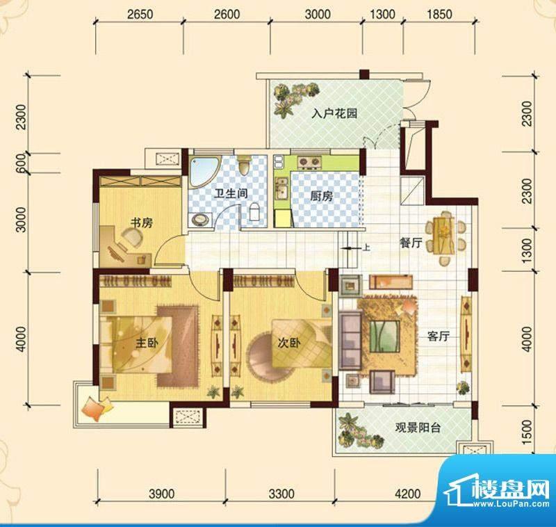 春风玫瑰园J3 3室2厅面积:102.13平米