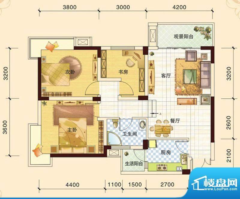 春风玫瑰园K1 3室2厅面积:92.04平米