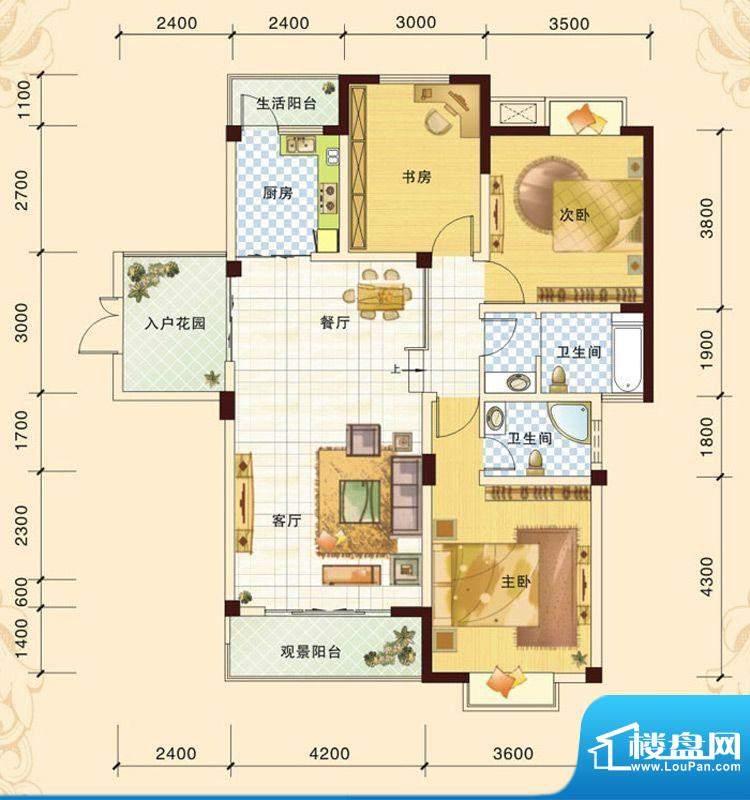 春风玫瑰园K2 3室2厅面积:119.23平米