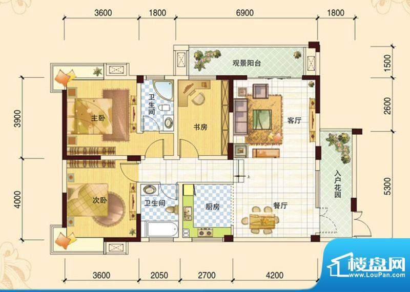 春风玫瑰园K3 3室2厅面积:122.13平米