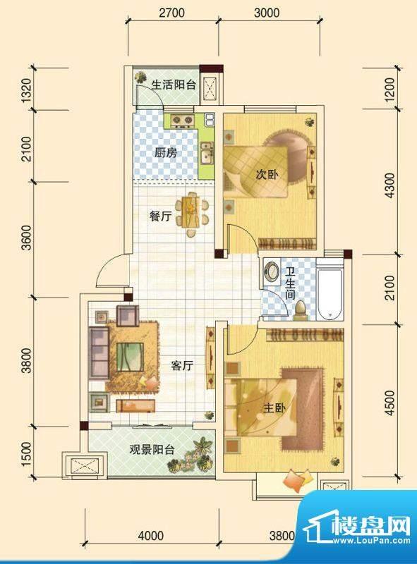 春风玫瑰园B1 2室2厅面积:84.07平米