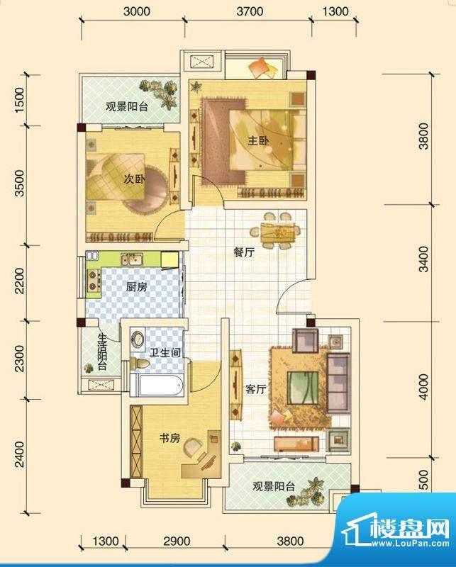 春风玫瑰园B2 3室2厅面积:89.83平米