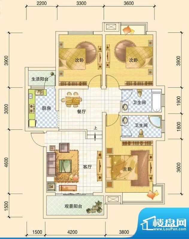 春风玫瑰园C2 3室2厅面积:108.92平米
