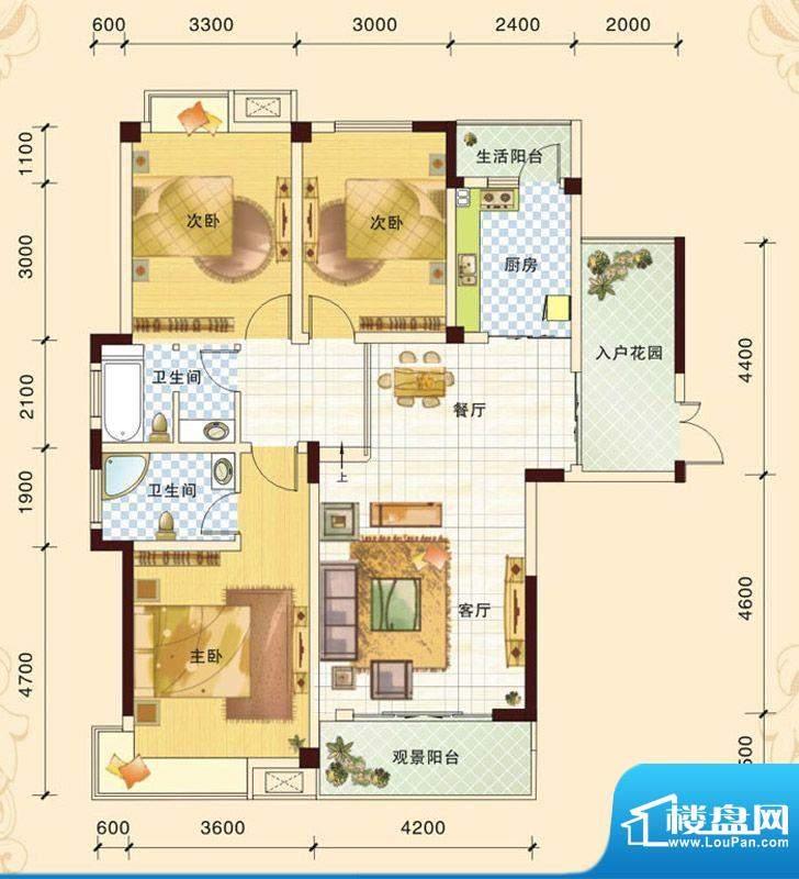 春风玫瑰园D1 3室2厅面积:123.93平米