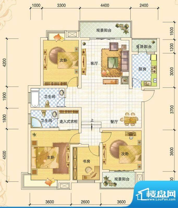 春风玫瑰园D2 4室2厅面积:139.03平米