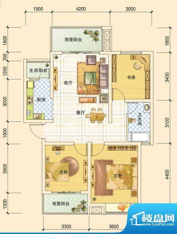 春风玫瑰园H1 3室2厅面积:98.93平米