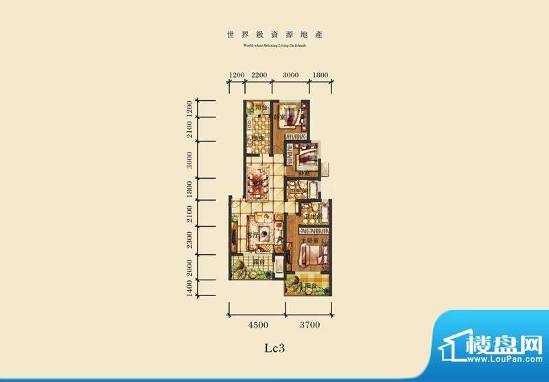 泰合慢城八岛LC3 2室面积:100.92平米
