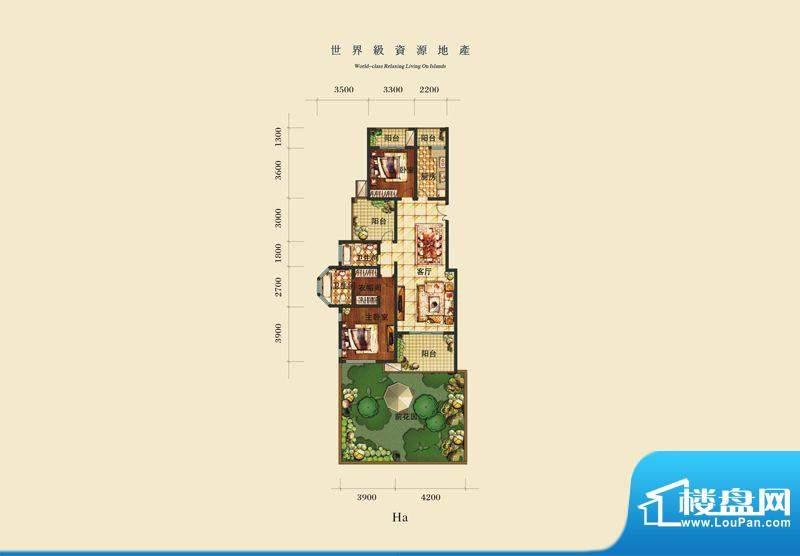泰合慢城八岛HA 2室面积:0.00平米