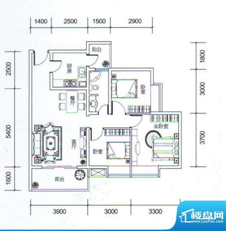 金玉丽都A3户型 3室面积:88.08平米
