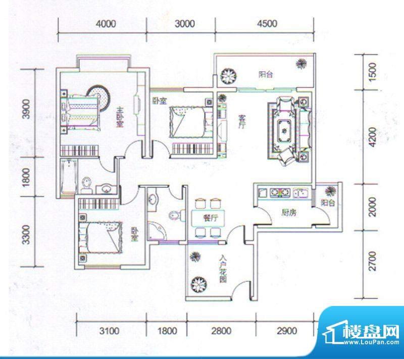 金玉丽都C1户型 3室面积:111.35平米