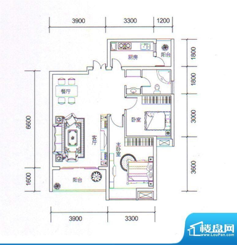 金玉丽都C3户型 2室面积:87.50平米